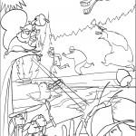 דף צביעה בו והחיות בהתקפה על הציידים