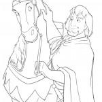דף צביעה קפטן פאביוס וסוסו האהוב אכילס