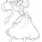 דף צביעה אסמרלדה רוקדת ומתופפת