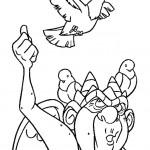 דף צביעה הגיבן מנוטרדאם והיונים