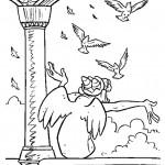 דף צביעה הגיבן מנוטרדאם מקבל את הציפורים בברכה
