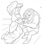 דף צביעה קואזימודו ואסמרלדה אהובתו