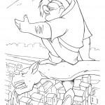 דף צביעה קואזימודו מעופף על גב המפלצת הוגו