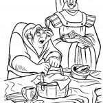דף צביעה הגיבן קאוזימודו והכומר קלוד