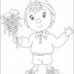 דף צביעה נאדי אוחז בזר פרחים