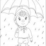 דף צביעה נאדי צועד בגשם עם מטרייה
