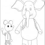 דף צביעה הפיל ג'מבו ועכברון