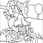 דף צביעה נאדי ואוזניון על האופניים