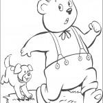 דף צביעה מר טובי הדוב בורח מבמפי הכלב