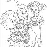 דף צביעה טובי הדובון, ברטי הקוף ודינה הבובה