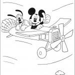 דף צביעה מיקי ופלוטו טסים במטוס