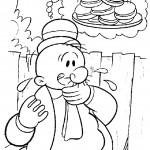 דף צביעה ווימפי משתוקק לאכול המבורגרים