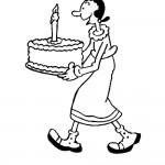 דף צביעה אוליב מגישה עוגת יום הולדת