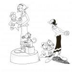 דף צביעה אוליב, הסבתא והתינוקות לבית פופאי