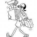דף צביעה אוליב במסע קניות