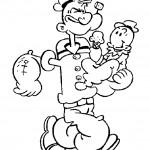 דף צביעה פופאי נושא את התינוק בזרועותיו