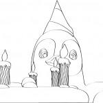 דף צביעה הפינגווין חוגג יום הולדת