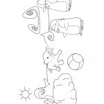 דף צביעה אוזי בו ורג'ה גור הנמר משתעשעים בחוף