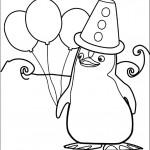 דף צביעה הפינגווין פרד אוחז בצרור בלונים