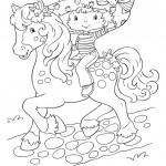 דף צביעה תותית רוכבת על הסוסה דובשנית
