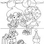 דף צביעה תותית נותנת מתנה לחברתה