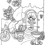דף צביעה תותית יוצאת לגינה