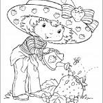 דף צביעה תותית משקה בשדה התותים