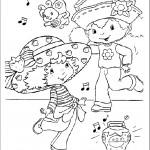 דף צביעה תותית וחברתה רוקדות לצלילי השיר