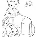 דף צביעה ילד נוהג במכונית צעצוע