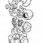 דף צביעה ילדים משחקים בצעצועים שונים