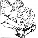 דף צביעה ילדים משחקים באוטובוס צעצוע