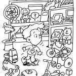 דף צביעה ילד בחדר הצעצועים