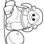 דף צביעה בובה וכדור