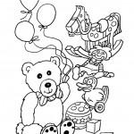 דף צביעה דובון עם בלונים ועוד צעצועים