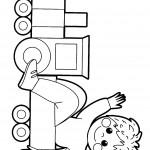 דף צביעה ילד יושב ברכבת צעצוע