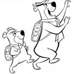 דף צביעה יוגי ובובו יוצאים לטיול