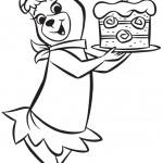 דף צביעה סינדי מגישה את עוגת יום ההולדת