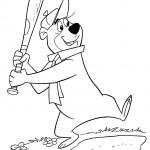 דף צביעה יוגי הדוב במשחק בייסבול