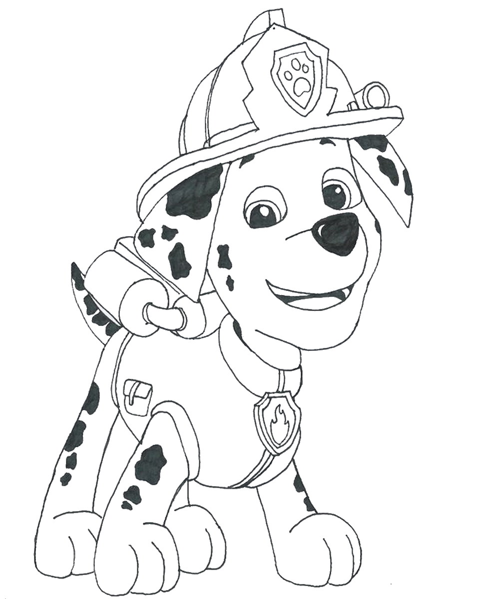 Paw Patrol Coloring Pages : Marshall paw patrol free colouring pages